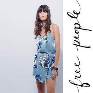 Free People Printed Chiffon Cascades Slip Dress